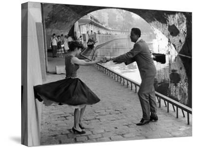 Rock 'n' Roll Dancers on Quays of Paris, River Seine, 1950s-Paul Almasy-Stretched Canvas Print