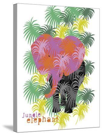 Jungle Elephant-Laure Girardin-Vissian-Stretched Canvas Print