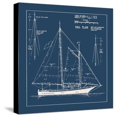 Nautical Blueprint I-The Vintage Collection-Stretched Canvas Print