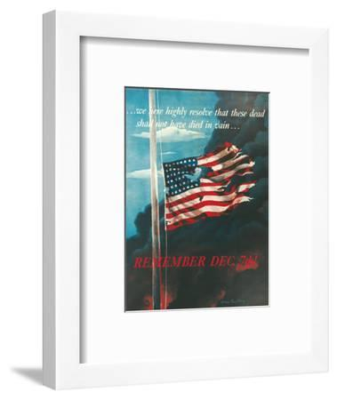 Remember December 7th!, In Remembrance of the Japanese Attack on Pearl Harbor, Honolulu, Hawaii-Allen Saalburg-Framed Art Print