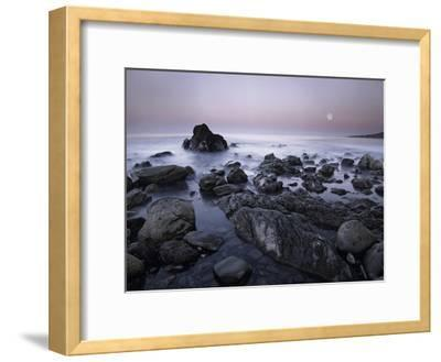 Full moon over boulders at El Pescador State Beach, Malibu, California-Tim Fitzharris-Framed Art Print