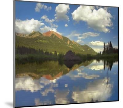 Avery Peak reflected in beaver pond, San Juan Mountains, Colorado-Tim Fitzharris-Mounted Art Print
