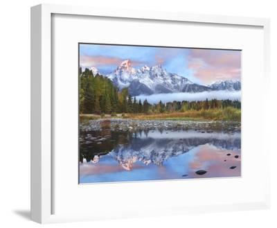 Grand Tetons reflected in lake, Grand Teton National Park, Wyoming-Tim Fitzharris-Framed Art Print