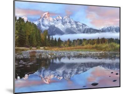 Grand Tetons reflected in lake, Grand Teton National Park, Wyoming-Tim Fitzharris-Mounted Art Print