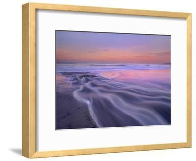 Fresh water stream flowing into the Pacific Ocean, Zuma Beach, Malibu, California-Tim Fitzharris-Framed Art Print