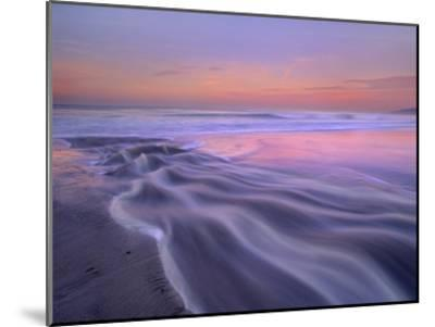 Fresh water stream flowing into the Pacific Ocean, Zuma Beach, Malibu, California-Tim Fitzharris-Mounted Art Print