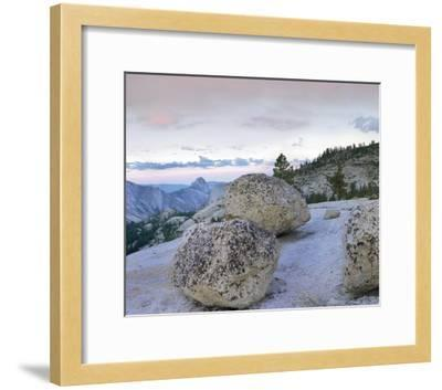 Granite boulders and Half Dome at Olmsted Point, Yosemite National Park, California-Tim Fitzharris-Framed Art Print