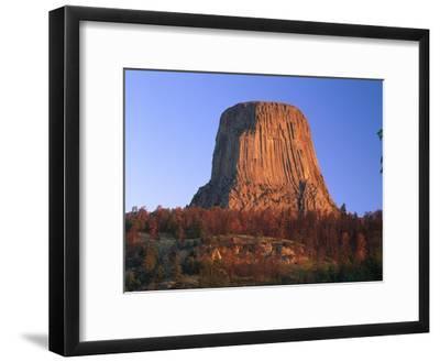 Devil's Tower National Monument showing famous basalt tower, Wyoming-Tim Fitzharris-Framed Art Print