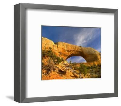 Wilson Arch with a span of 91 feet and height of 46 feet, made of entrada sandstone, Utah-Tim Fitzharris-Framed Art Print
