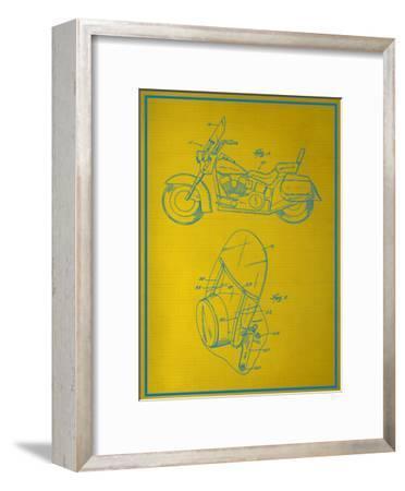 Motorcycle Blueprint--Framed Art Print