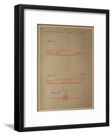 Airplane Blueprint--Framed Art Print