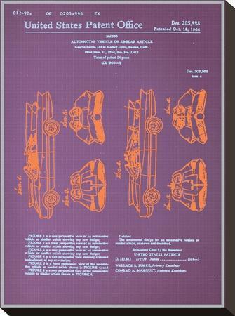 Batmobile Design Blueprint--Stretched Canvas Print