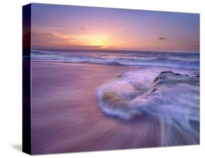 Sandy beach at sunset, Oahu, Hawaii-Tim Fitzharris-Stretched Canvas Print