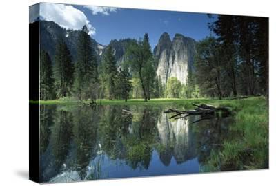 Granite reflecting in pool, Yosemite National Park, California-Tim Fitzharris-Stretched Canvas Print