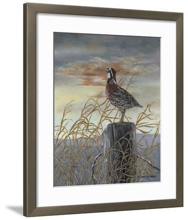 Quail on a Post-Carolyn Mock-Framed Art Print