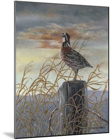 Quail on a Post-Carolyn Mock-Mounted Art Print