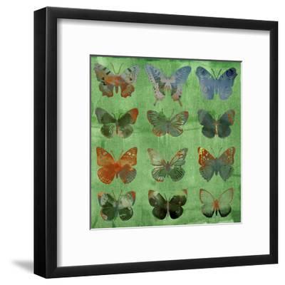 Butterflies on Green-Sisa Jasper-Framed Art Print