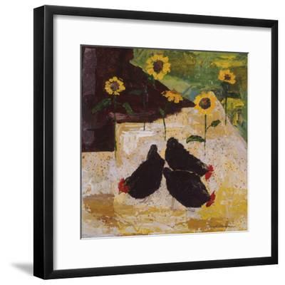 Chickens and Sunflowers-Anuk Naumann-Framed Giclee Print