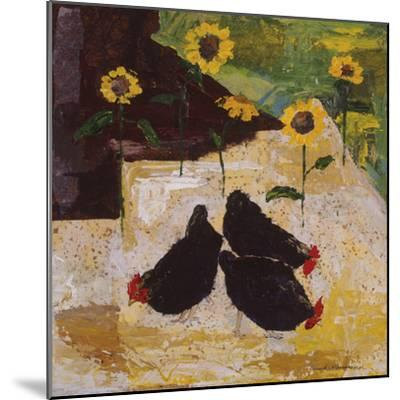 Chickens and Sunflowers-Anuk Naumann-Mounted Giclee Print