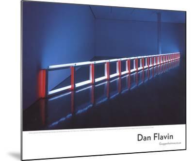 An Artificial Barrier Blue, Red and Blue Fluorescent Light (to Flavin Starbuck Judd)-Dan Flavin-Mounted Art Print