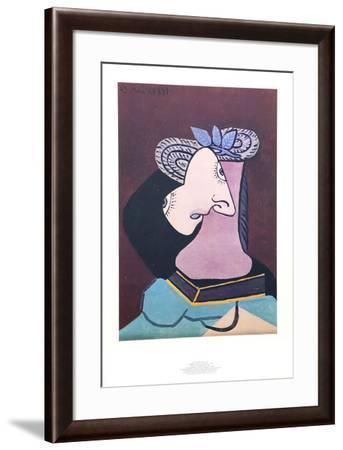 Le Chapeau de Paille au Feuilage Bleu-Pablo Picasso-Framed Collectable Print