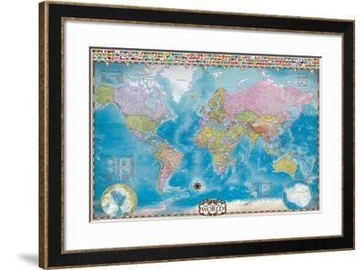 Map of the World with Flags--Framed Art Print
