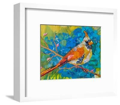 Female Cardinal On Blue--Framed Art Print