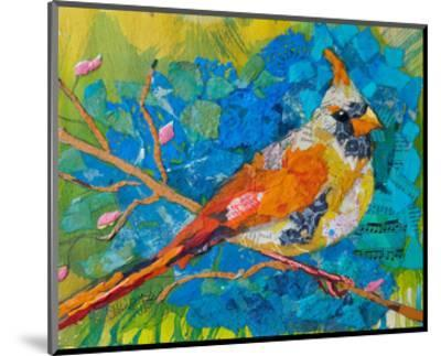 Female Cardinal On Blue--Mounted Art Print