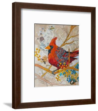 Cardinal On White--Framed Art Print