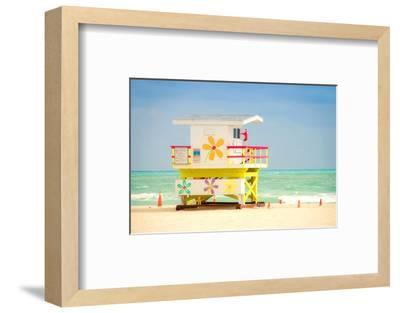 Lifeguard tower in Miami Beach--Framed Art Print