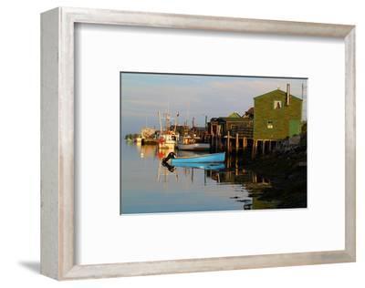 Fishing boats at dock--Framed Art Print