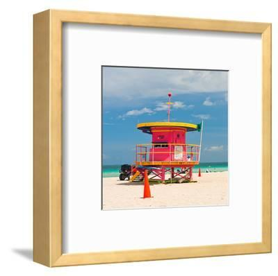 Red Lifeguardstand South Beach--Framed Art Print