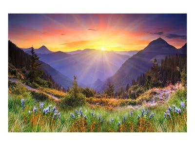 Sunset in Mountain Landscape--Framed Art Print