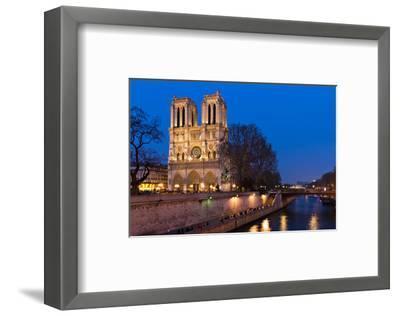 Notre Dame River Seine at Dusk--Framed Art Print