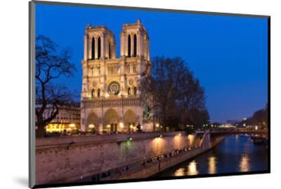 Notre Dame River Seine at Dusk--Mounted Art Print