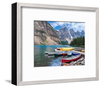 Canoes Moraine Lake Banff Park--Framed Art Print