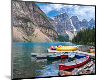 Canoes Moraine Lake Banff Park--Mounted Art Print