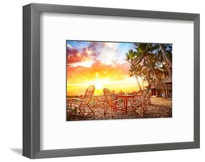 Cafe Tropical Sunset in India--Framed Art Print