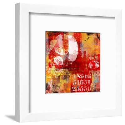 Number & Text Abstract Collage--Framed Art Print