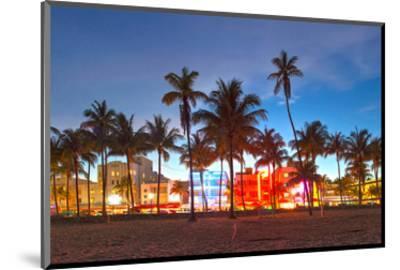 Miami Beach Hotels on Ocean Dr--Mounted Art Print