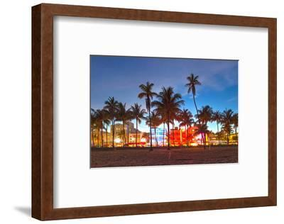 Miami Beach Hotels on Ocean Dr--Framed Art Print