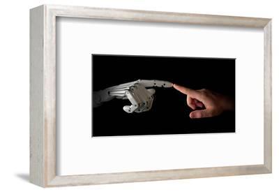 Robot & Human Fingers Touching--Framed Art Print