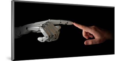 Robot & Human Fingers Touching--Mounted Art Print