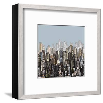 Cityscape Skyscrapers & Sky--Framed Art Print