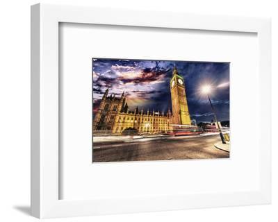 Westminster & Big Ben By Night--Framed Art Print