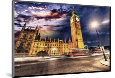 Westminster & Big Ben By Night--Mounted Art Print