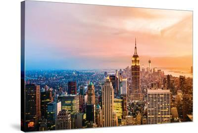 Sun Setting of New York--Stretched Canvas Print