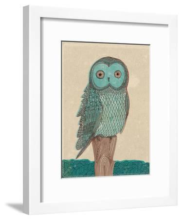 Owl In Blue Monotone-Paula Mills-Framed Art Print