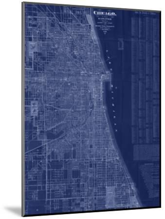 Antique Map of Chicago (blue)-Blanchard-Mounted Art Print