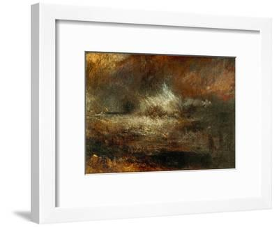 Stormy Sea with Blazing Wreck-J^ M^ W^ Turner-Framed Giclee Print